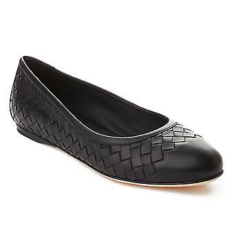 Bottega Veneta kvinders Intrecciato Ballerina flade sko sort