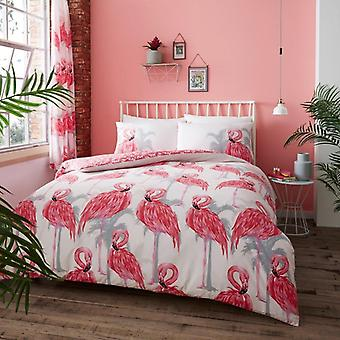 Flamingo Pink Wildlife Reversible Duvet Cover Polycotton Printed Bedding Set