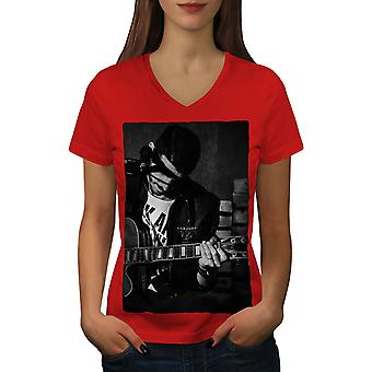 Artist Musician Women RedV-Neck T-shirt | Wellcoda