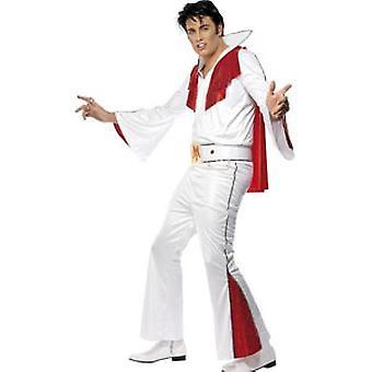 Traje de Elvis - blanco y rojo - camisa - pantalones - capa y cinturón grande