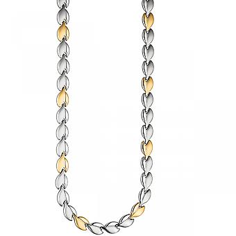 Necklace necklace stainless steel gold color coated bicolor 45 cm chain