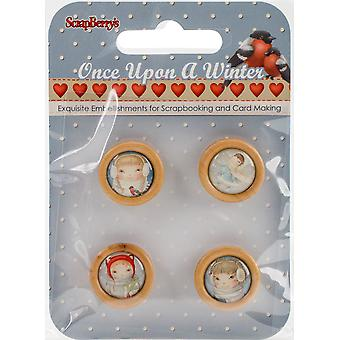 Scrapberry's Once Upon A Winter Wooden Frame Buttons 4/Pkg-Cameos