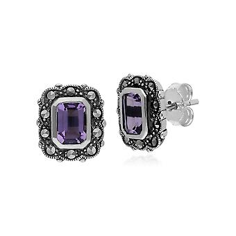 Gemondo Sterling Silver Amethyst & Marcasite Octagon Art Nouveau Stud Earrings