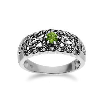 Gemondo plata esterlina Peridot y Marcasita Arte Nouveau del anillo