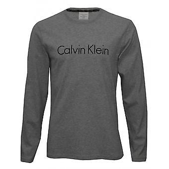 Calvin Klein Long-Sleeve Crew-Neck Jersey Logo T-Shirt, Grey Heather
