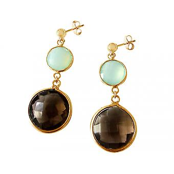Gemshine - Brown - Calcedonia - cuarzo ahumado - verde - oro damas - Pendientes - plata de 925--facetas - 4 cm