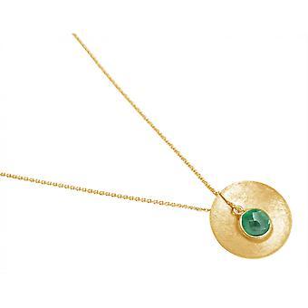 Gemshine - Damen - Halskette - Anhänger - 925 Silber - Vergoldet - Schale -  Geometrisch - Design - Smaragd - Grün - 45 cm