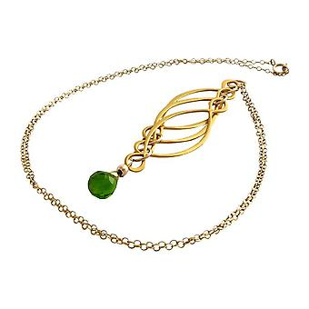 Necklace chain gemstone necklace ladies necklace gold plated green tourmalines