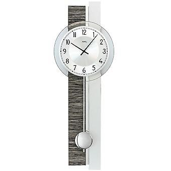 Væg ur kvarts med pendul sølv grå træ look pendul ur med glas