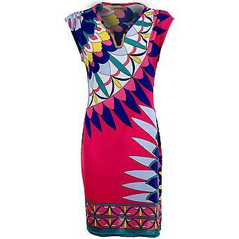 Ladies Oversized Gold V Neck Sleeveless Multi-Colour Baggy Women's Long Top