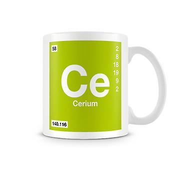 Scientific Printed Mug Featuring Element Symbol 058 Ce - Cerium