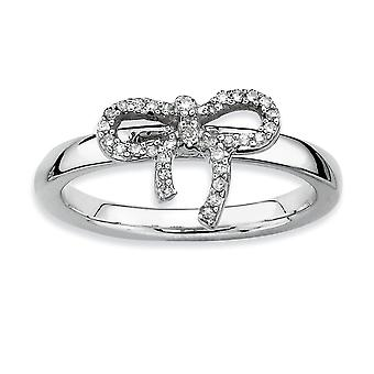 Sterling Silver Polished Prong set Rhodium-plated Stackable Expressions Bow Diamond Ring - Ring Size: 5 to 10