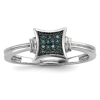 925 Sterling Silver Open back Gift Boxed Cut-out sides Rhodium-plated With White Blue Diamonds Square Ring - Ring Size: