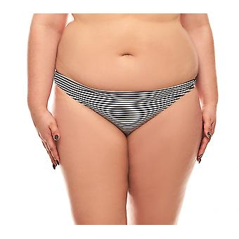 MACHA striped bikini bottoms black white large size