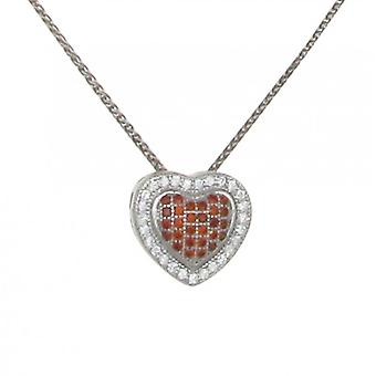 Cavendish French Silver and Red Checkered Heart Pendant without Chain