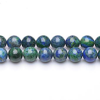 Tråd 38 + blå/grønn Chrysocolla 10mm vanlig runde perler GS5758-4