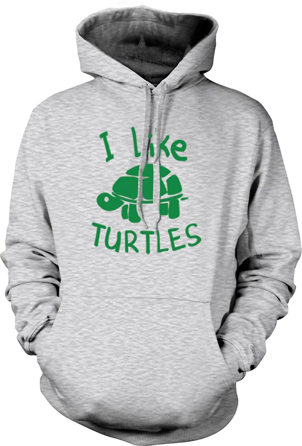 Mens Hoodie - I Like Turtles