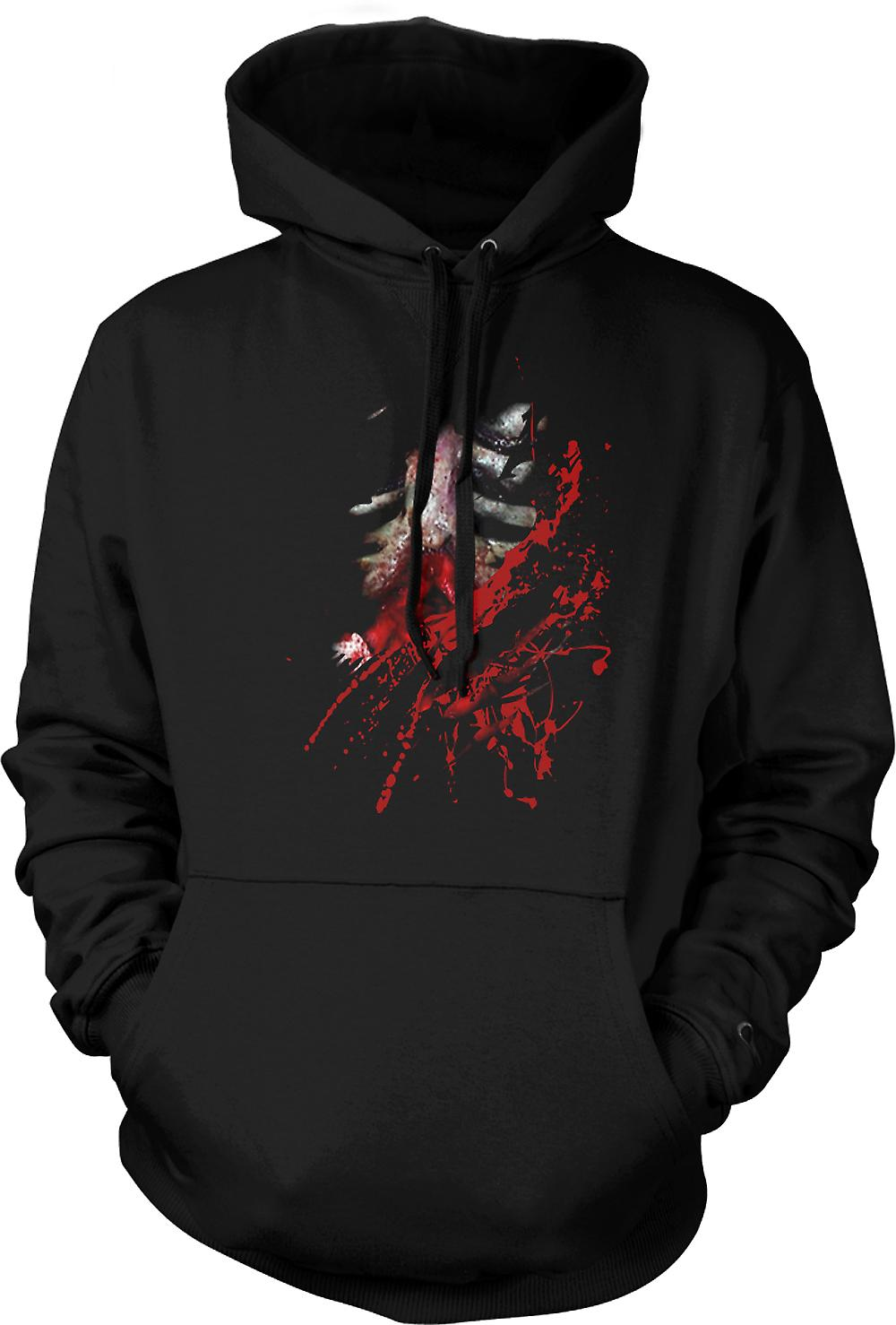 Mens Hoodie - Zombie Walking Dead Ribs And Guts Ripped Design