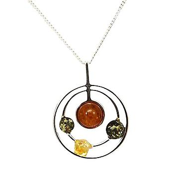 Toc Sterling Silver Geometric Shaped Amber Pendant 18 Inch Silver Chain