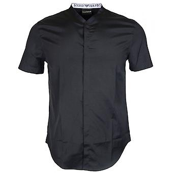 Emporio Armani Cotton Grandad Collar Short Sleeve Black Shirt