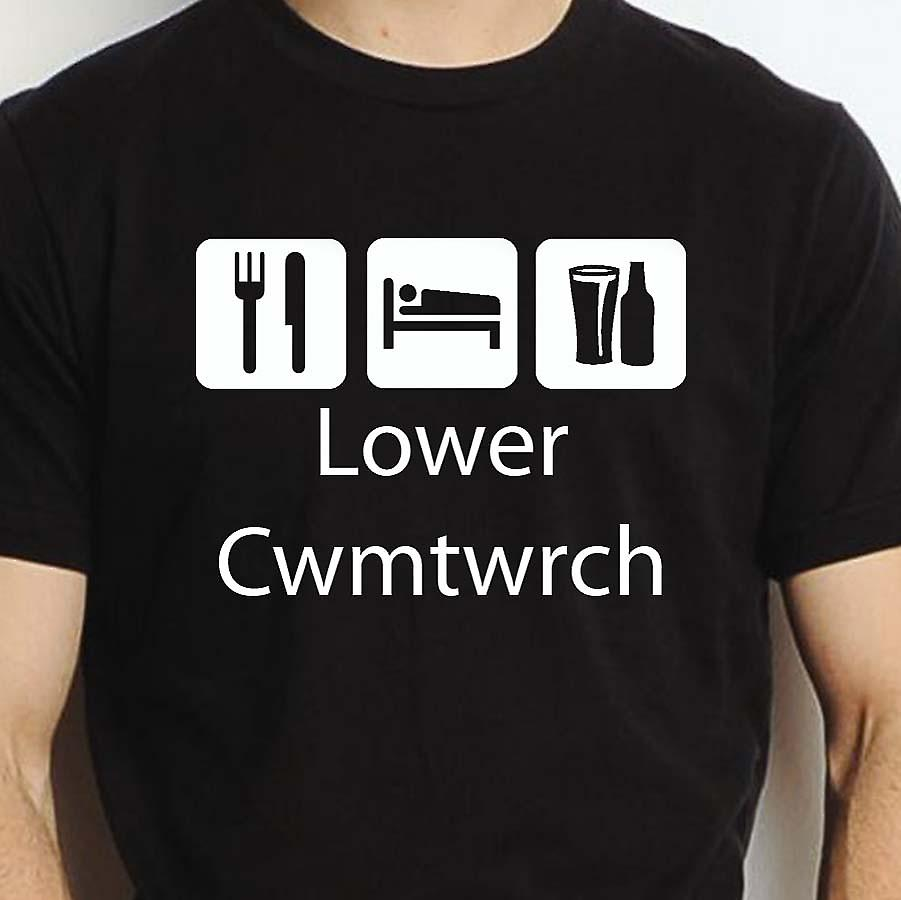Eat Sleep Drink Lowercwmtwrch Black Hand Printed T shirt Lowercwmtwrch Town