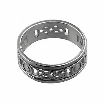 9ct White Gold 6mm pierced Celtic Wedding Ring Size H