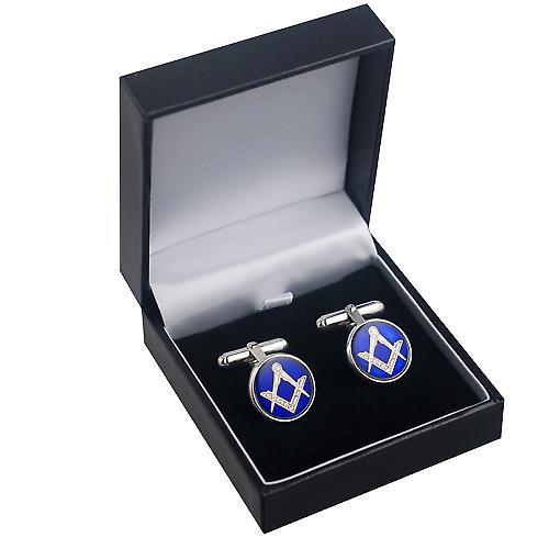 Silver 17mm round cold cure enamel Masonic swivel Cufflinks