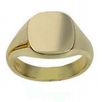 18 Karat Gold 14x13mm einfachen festen Kissen Siegelring Größe R