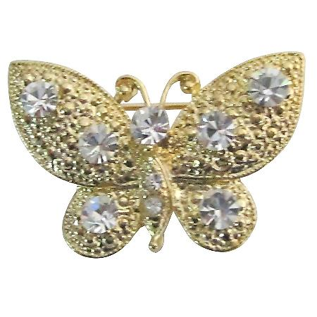 Breathtaking Brooch Pin Sleek Elegant Clear Crystals Golden Butterfly