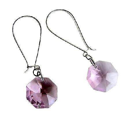 Swarovski Octagon Pink 15mm Multifaceted Crystal Silver Hoop Earrings