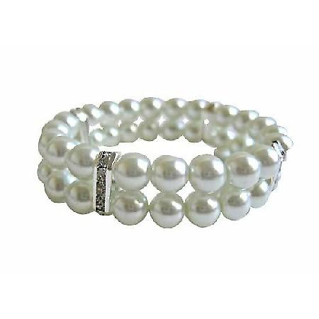 White Pearls Double Stranded Stretchable Bracelet w/ Silver Rondells