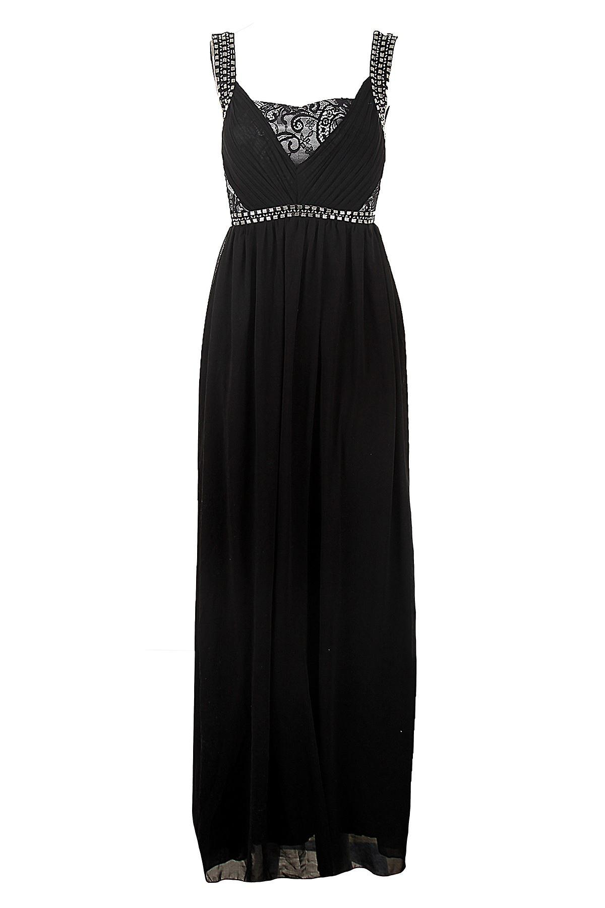 Ladies Diamante Strap Pleated Padded Lace Chiffon Long Maxi Women's Dress