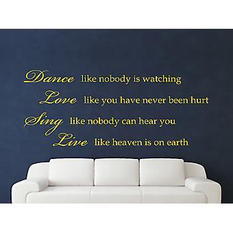 Dance Like Nobody Is Watching Wall Art Sticker - Dark Yellow