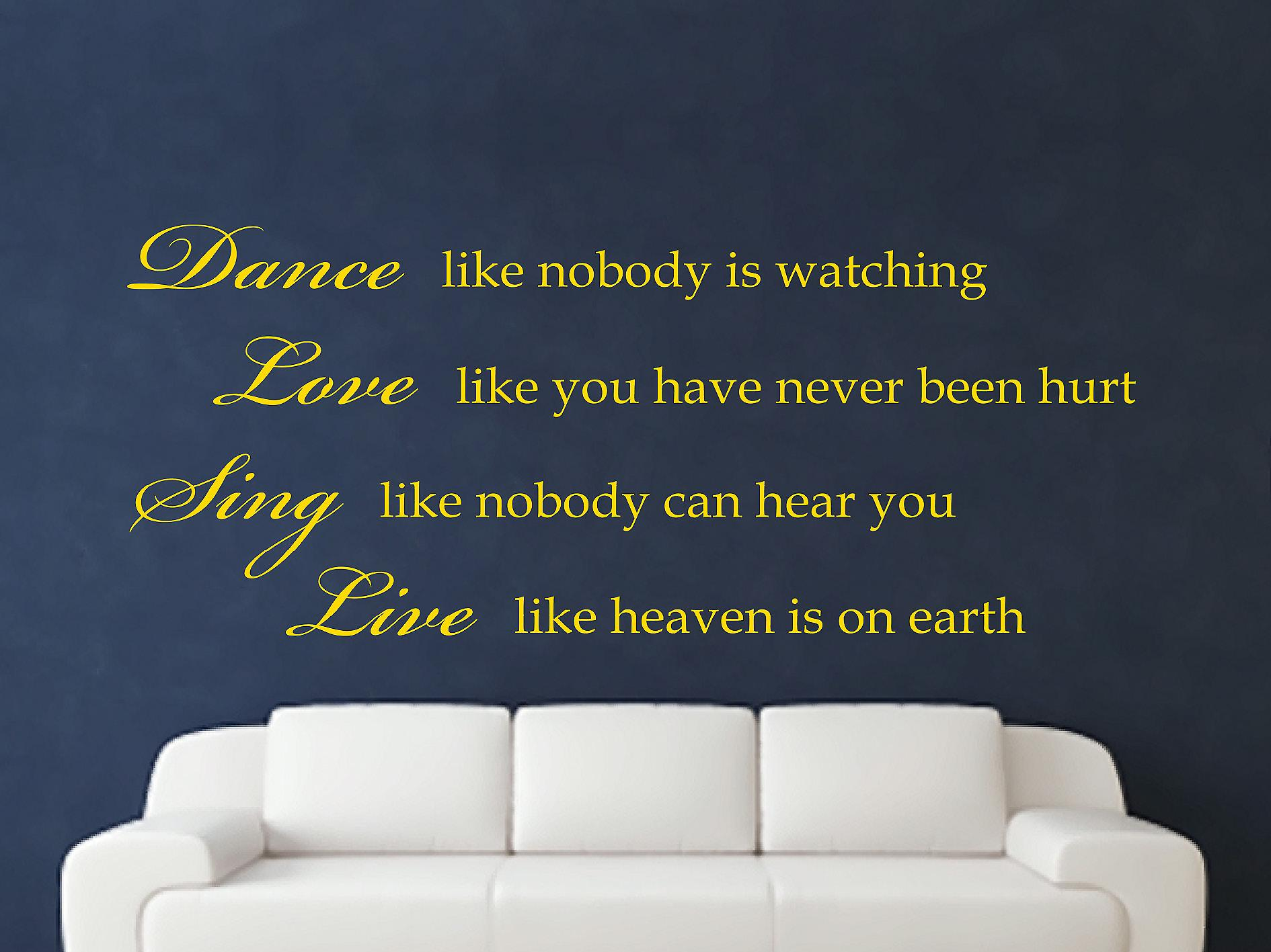 Dance Like Nobody Is Watching Wall Art Sticker - Dark Yellow