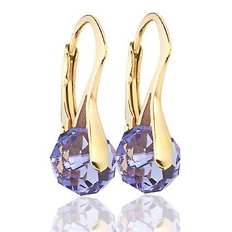 Ah! Jewellery Tanzanite Briolette Crystals From Swarovski Earrings, Gold Over Sterling Silver