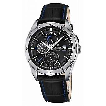 Festina Mens Black Leather Strap Multifunction Dial F16877/4 Watch