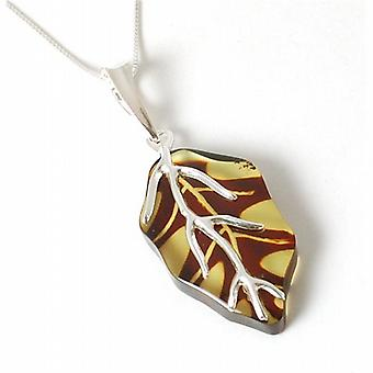 Toc Sterling Silver Two Color Amber Leaf Pendant on 18 Inch Chain
