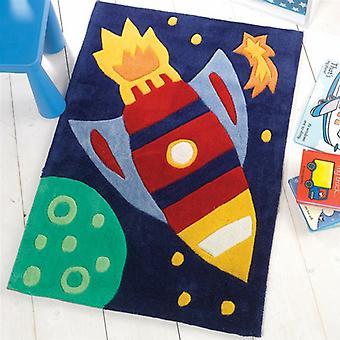 Flair Kiddy Play Space Rocket Multi Childrens Rug 70x100cm