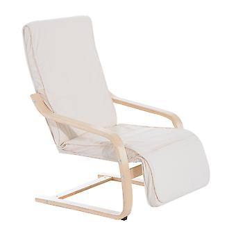 HOMCOM Wooden Lounging Rocker Deck Rocking Chair Relaxing Recliner Lounge Seat w/ Adjustable Footrest & Removable Cushion (Creamy white)