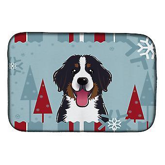 Hiver vacances Bernese Mountain Dog plat Mat de séchage
