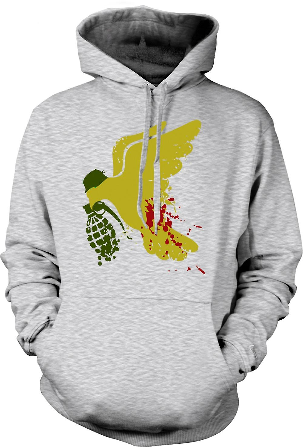Mens Hoodie - Peace Not War Dove Grenade - Funny