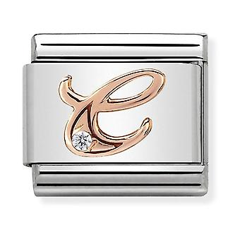 Nomination Classic Letter C Steel, CZ and 9k Rose Gold Link Charm 430310/03