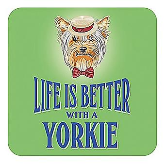Life Is Better With A Yorkie cork backed drinks mat / coaster (og)