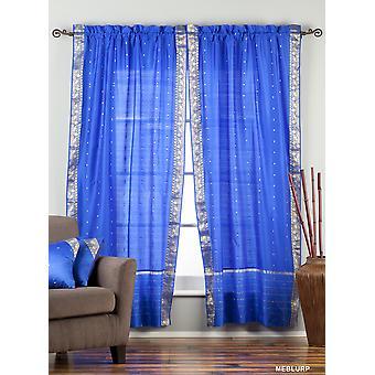 Bezaubernde blaue Tasche schiere Sari Gardinenstangen / drapieren / Panel - paar
