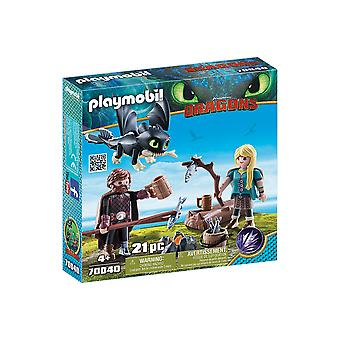 Playmobil DreamWorks Dragons Hiccup and Astrid With Baby Dragon 21PC Playset