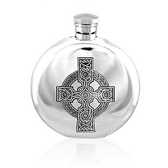 Round Celtic Cross 6oz Hip Flask (CEL490 EP)