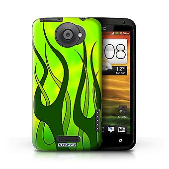 STUFF4/Housse pour HTC One X/Green/Lime/flamme repeint