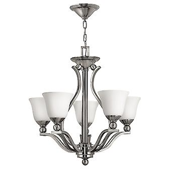 Bolla Contemporary 5 Arm Chandelier with Etched Opal Glass Shades