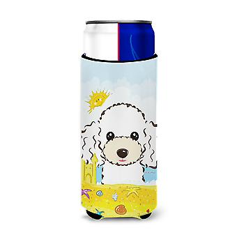 White Poodle Summer Beach Michelob Ultra Koozies for slim cans BB2125MUK