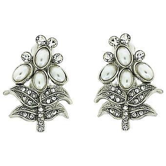 Clip On Earrings Store Silver and Clear Crystal and Pearl Christmas Tree Clip On Earrings